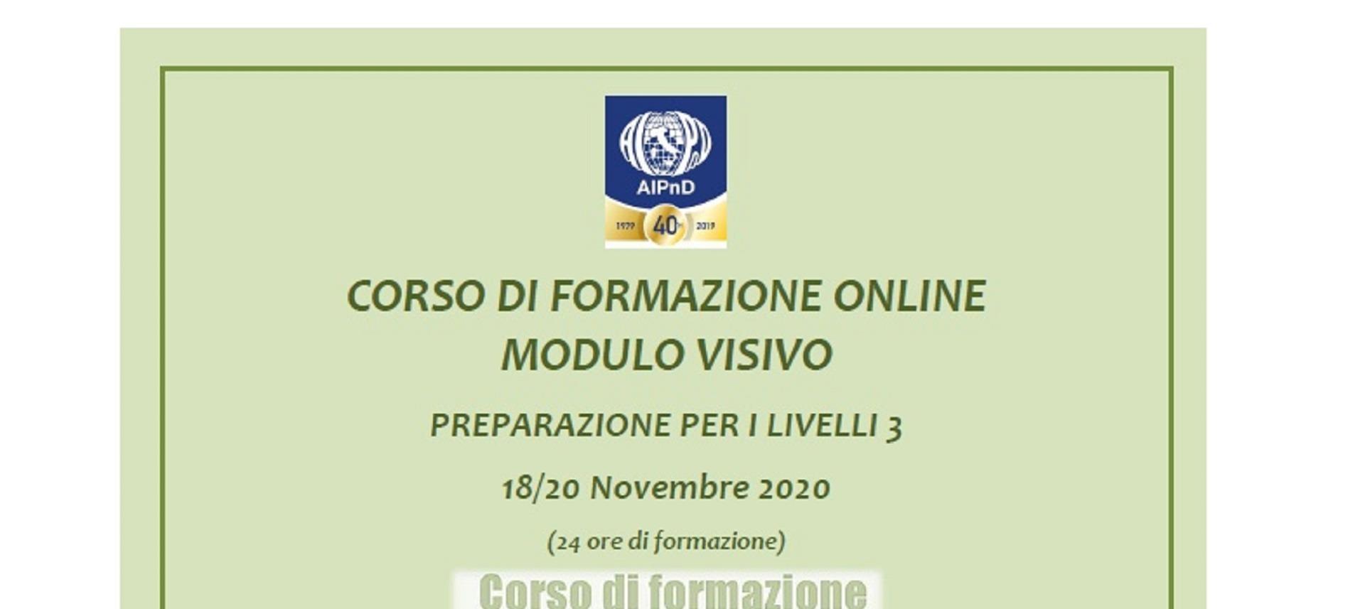 """News Socio Aib - CORSO DI FORMAZIONE ONLINE """"MODULO VISIVO"""" - PREPARAZIONE PER I LIVELLI 3"""